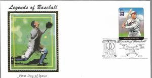 US  3408f  ROGERS HORNSBY , BASEBALL FDC,  COLORANO SILK CACHET