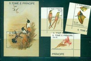 Sao Tome & Principe. Sc# 871-4. 1989 Hummingbirds. MNH $10.5.