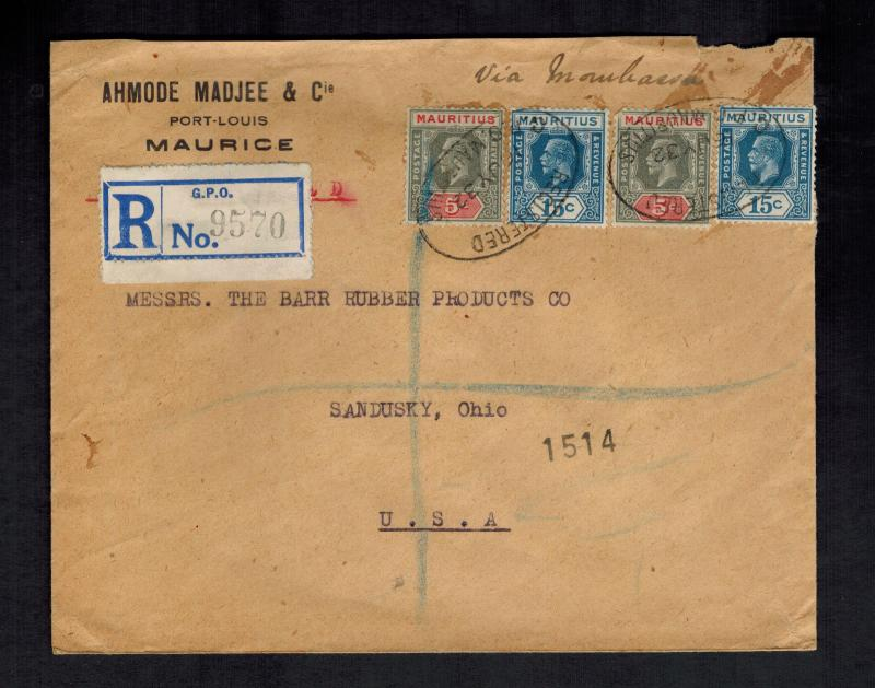 1932 Mauritius Registered Cover to USA