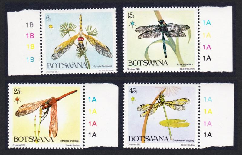 Botswana Dragonflies Christmas 4v with margins SG#550/53 SC#337-40