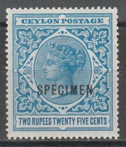 CEYLON 1899 QV 2R25 SPECIMEN TOP VALUE