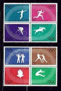 Poland 917a and 921a MNH 1960 Olympics in blocks of 4