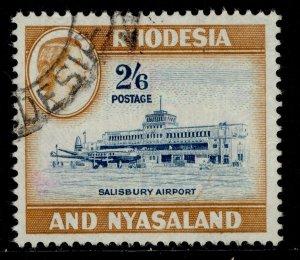 RHODESIA & NYASALAND QEII SG28, 2s 6d lt blue&yel-brown, FINE USED.