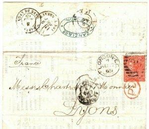 GB Cover Printed Matter London FRANCE Lyon Printed Contents EL 1869 23b.18