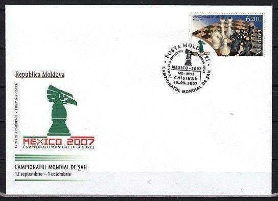 Moldova, Scott cat. 574. Mexico World Chess Chess issue on a First Day Cover.