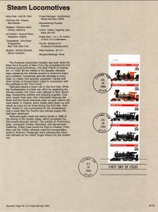 US SP1073 Locomotives 2847a Souvenir Page FDC