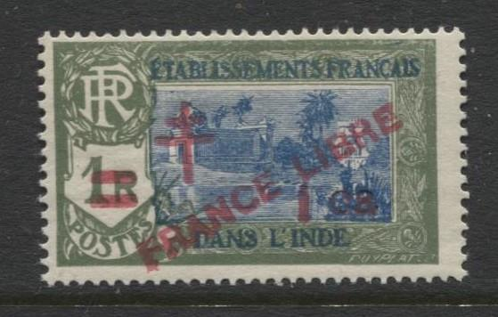 French India - Scott 198 -Overprint France Libre -1943- MLH-Single  1ca Stamp