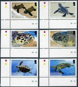 BIOT 290-295,296 sheet,MNH. Green,Hawksbill Turtles.2005.