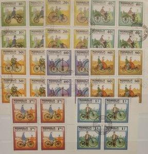 Mongolia 1982 History of Bicycle Blocks of 4 CTO  Transport Bikes Cycling Sports