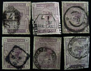 Great Britain, Scott 96, Used, 6 diff plate positions