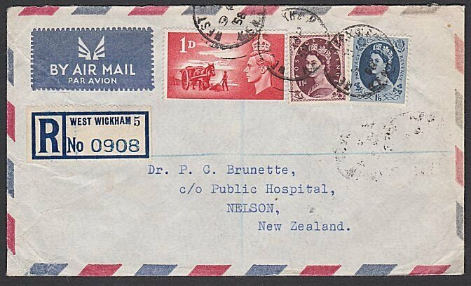 GB 1958 Reg airmail cover to NZ - mixed franking inc QE 11d.................J370
