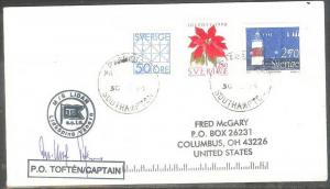 1994 Paquebot cover, Norway Lighthouse stamp mailed in Southampton, UK