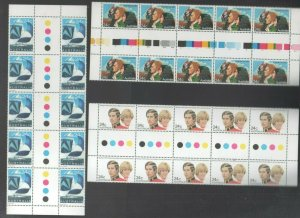 Australian Stamps MUH 1981-82 24c Yachting Disabled Charles Diana Gutter blocks