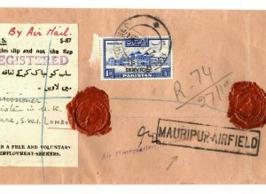 PAKISTAN Service Overprints Cover *Mauripur-Airfield* Economy Label 1951 EB208