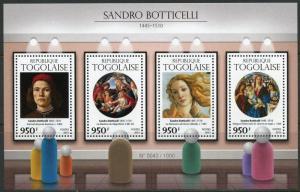 TOGO 2015 SANDRO BOTTICELLI  PAINTINGS SHEET   MINT NH