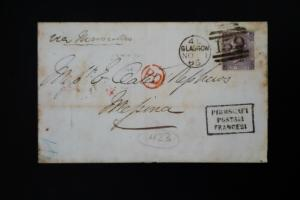 Great Britain 6 Pence Stamp Glasgow Cancel on 1865 Folded Letter