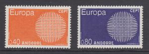 French Andorra Sc 196-197 MLH. 1970 EUROPA-CEPT complete, VF