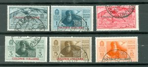 ITALIAN COLONIES #C1-C6..SET..USED NO THINS..$117.00