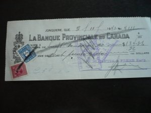 Canada - Revenue - KGVI War Issue Stamp & Revenue Stamp on cheque dated 1942