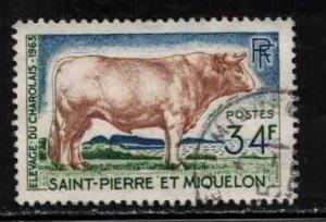 ST PIERRE & MIQUELON Scott # 373 Used 1 - Charolais Bull