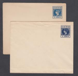 Ceylon H&G B30 + shade, mint. 1895 5c envelopes, blue QV indicia