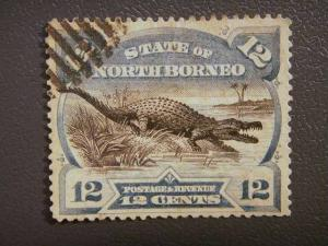 NORTH BORNEO, 1894, used, 12c. Estuarine Crocodile, Scott 65