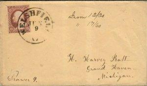 19th Century Cover Sc#26 DPO 1 Welshfield Ohio