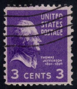 US #807 Thomas Jefferson; used (0.25)