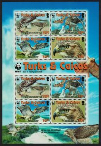 Turks and Caicos Birds WWF Red-tailed Hawk MS 2007 MNH SC#1482a-d