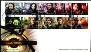 HERRICKSTAMP NEW ISSUES GREAT BRITAIN Sc.# 3679-88 Game of Thrones FDC
