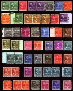 #803-#831, #839-#846 1/2c-50c 1939 VF MLH Perf Mint Prexie Lot 42 items