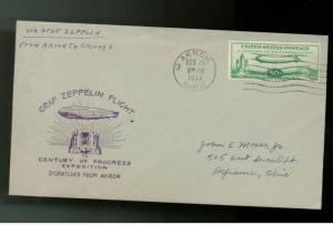 1933 Graf Zeppelin # C 18 century Progress Cover Akron LZ 127