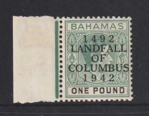 Bahamas the 1942 (Columbus) 1 pound MNH but!!