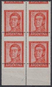 ARGENTINA 1959-70 SAN MARTIN Sc 698A MGNL BLOCKx4 MAJOR PERF SHIFTS ETECATCHING!