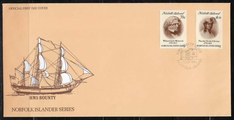 1990 Norfolk Island 495-6 William Wentworth & Thursday October Christian FDC