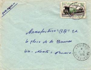 Ivory Coast 30F Abidjan Railroad Station 1966 Aboisso, Cote d'Ivoire Airmail ...