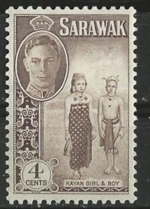 Sarawak # 183 George VI   4c Girl & Boy     (1) VLH Unused