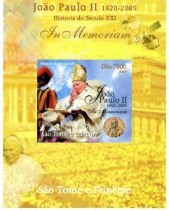 SAO TOME & PRINCIPE 2005 SPACE Pope John Paul II DeLuxe s/s Mint (NH) #2