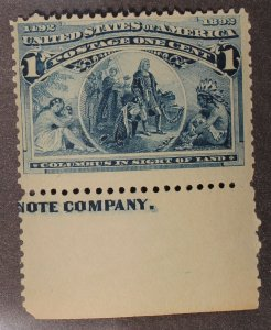 Scott 230 - 1 Cent Colombian - MNH - Partial Imprint - SCV - $32.50