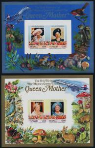 Tuvalu 316-7 imperf MNH Queen Mother 85th Birthday, Concorde, Flower, Mushroom