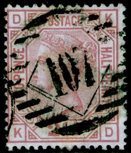 SG141, 2½d rosy mauve plate 10, USED. Cat £85. KD