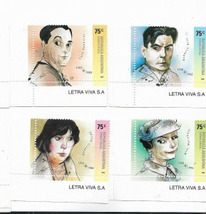ARGENTINA 2002 Personalities, Artists, Actors and Writers, set of 4 values, MNH