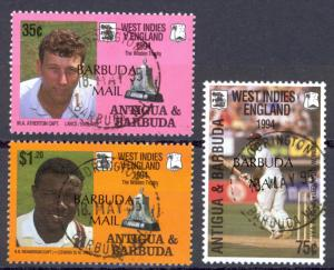 Barbuda Sc# 1533-1535 Used 1995 Antigua Cricket Stamps Overprinted