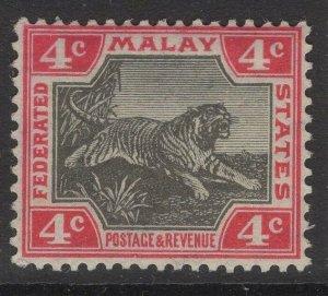 MALAYA FMS SG36e 1909 4c BLACK & DEEP ROSE(ANILINE) MTD MINT