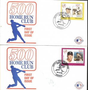 J) 1988 GRENADA, BASEBALL. 500 HOME RUN CLUB, MICKEY MANTLE, BABE RUTH, SET OF 2