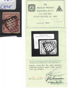 France SC 9b Small Repaired Pinhole 1990 APS Cert Grid Cancel FU (3dql)
