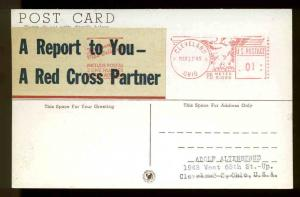 1945 WW2 PATRIOTIC LABEL A REPORT TO YOU- A RED CROS . . TIED TO MAILOMAT CARD