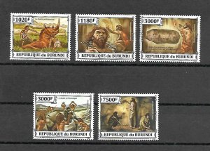 Burundi MNH Set Of 5 Prehistoric Humans 2013