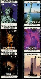 MONTSERRAT-ST. VINCENT-TUVALU 1986 Statue of Liberty Sheet Stamps Sets Mint NH