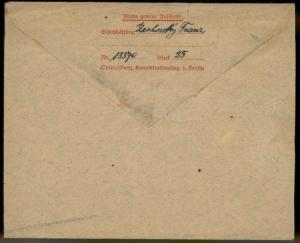 Germany 1943 Sachsenhausen Oranienburg Concentration Camp Stationery Cover 91624